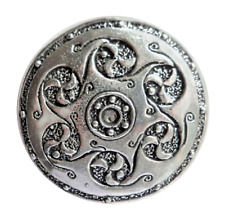 Celtic Six Swirls Shield Large Pewter Pin Badge - Hand Made in Cornwall - B115