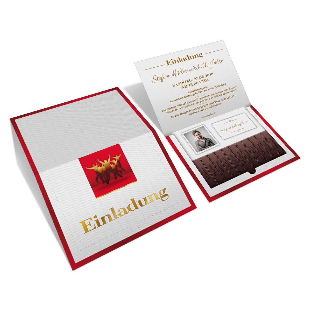 Einladungen zum Geburtstag als Danke Schokolade Klappkarte mit Foto   | Lebendige Form  | Verwendet in der Haltbarkeit