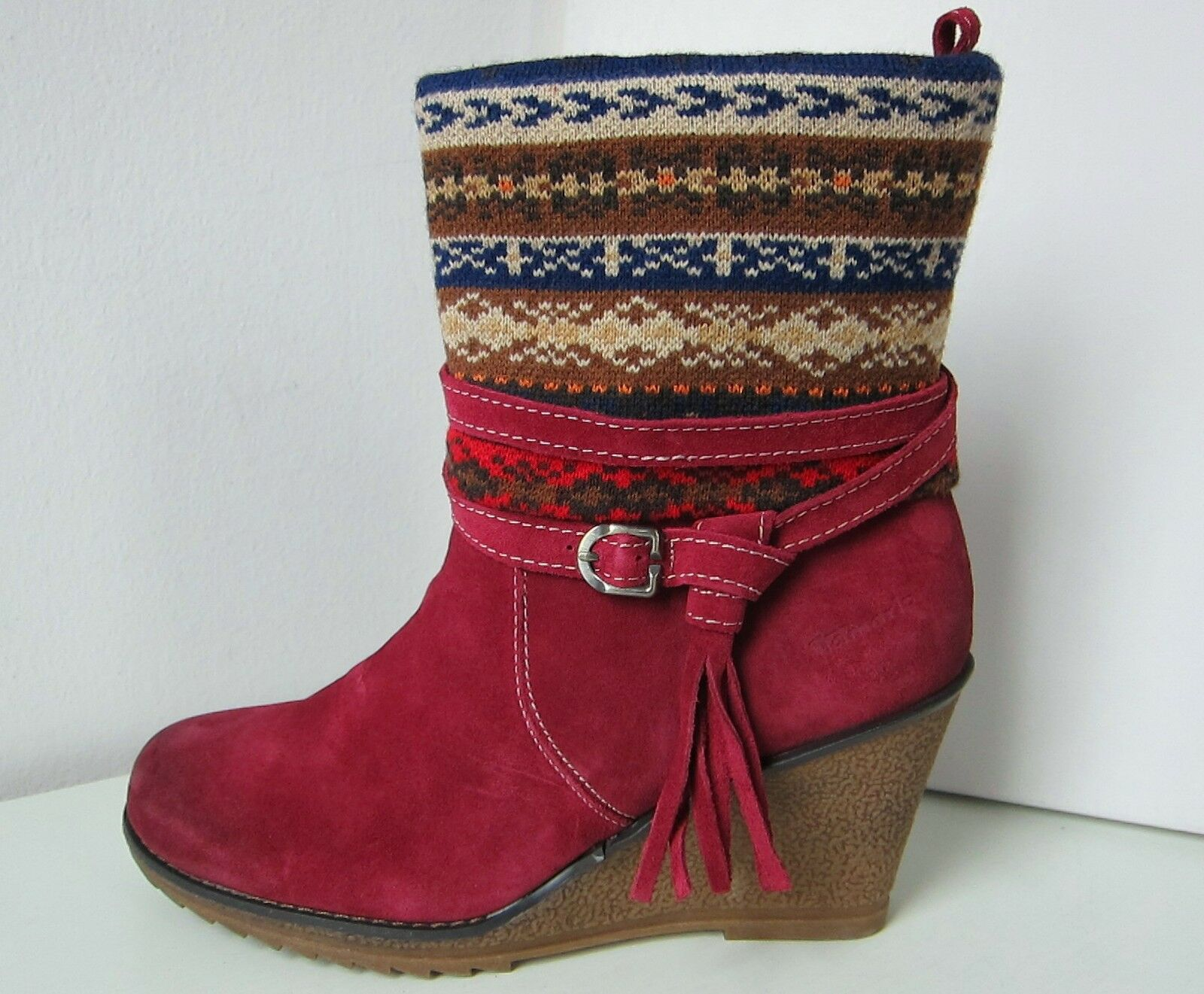 Tamaris Kailabsatz Stiefelette merlot rot Gr. 39 bootee ROT Stiefel Fragaria