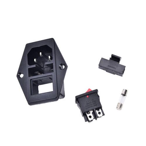 3Pin iec320 c14 inlet module plug fuse switch male power socket 10A 250V ^^