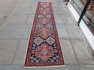 Antique-Vintage-Traditional-Hand-Made-Oriental-Wool-Blue-Long-Runner-306x72cm