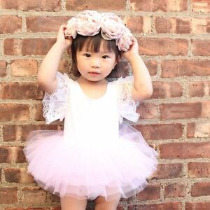 feb97173289a Newborn Kids Baby Girl Princess Romper Tutu Dress Skirt Lace Floral ...