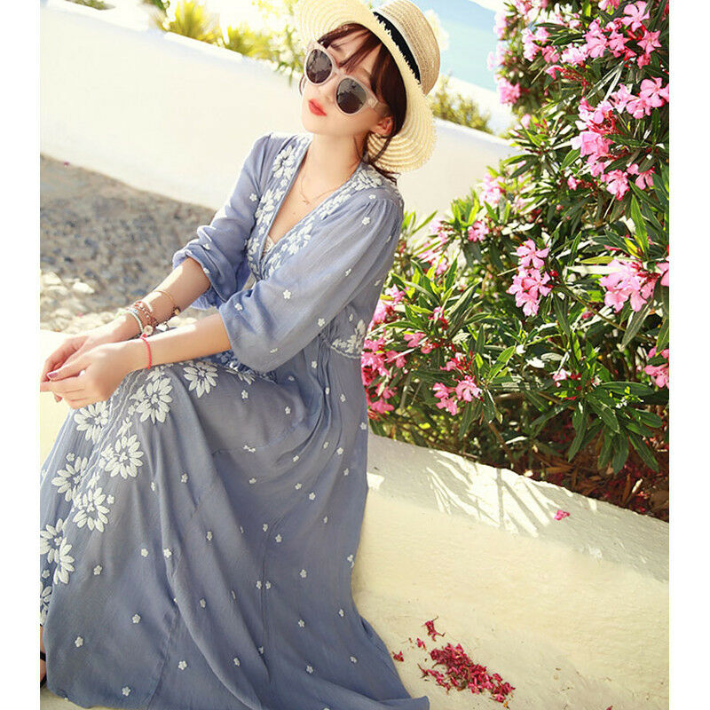Fashion womens casual full length dress large size cotton linen embroidery Z0234