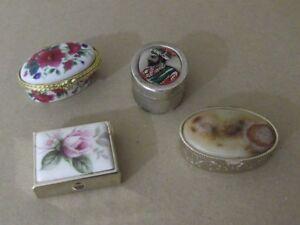 Lote de 4 cajas pastillero:  de metal, ovaladas, porcelana...