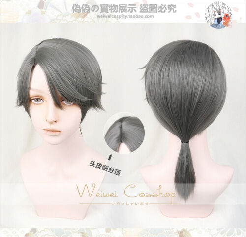 Anime Identity V Aesop Carl Cosplay Wig Ponytail Gray hair Hairpiece Cool#9-781