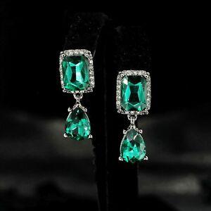 pour toute la famille magasiner pour le luxe acheter de nouveaux Détails sur Boucles d'Oreilles Clous Art Déco Carré Goutte Argenté Noir  Vert émeraude YW7