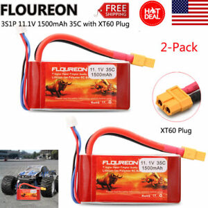 2x-Floureon-3S1P-11-1V-1500mAh-35C-LiPo-Battery-Pack-for-RC-Car-Truck-Airplane