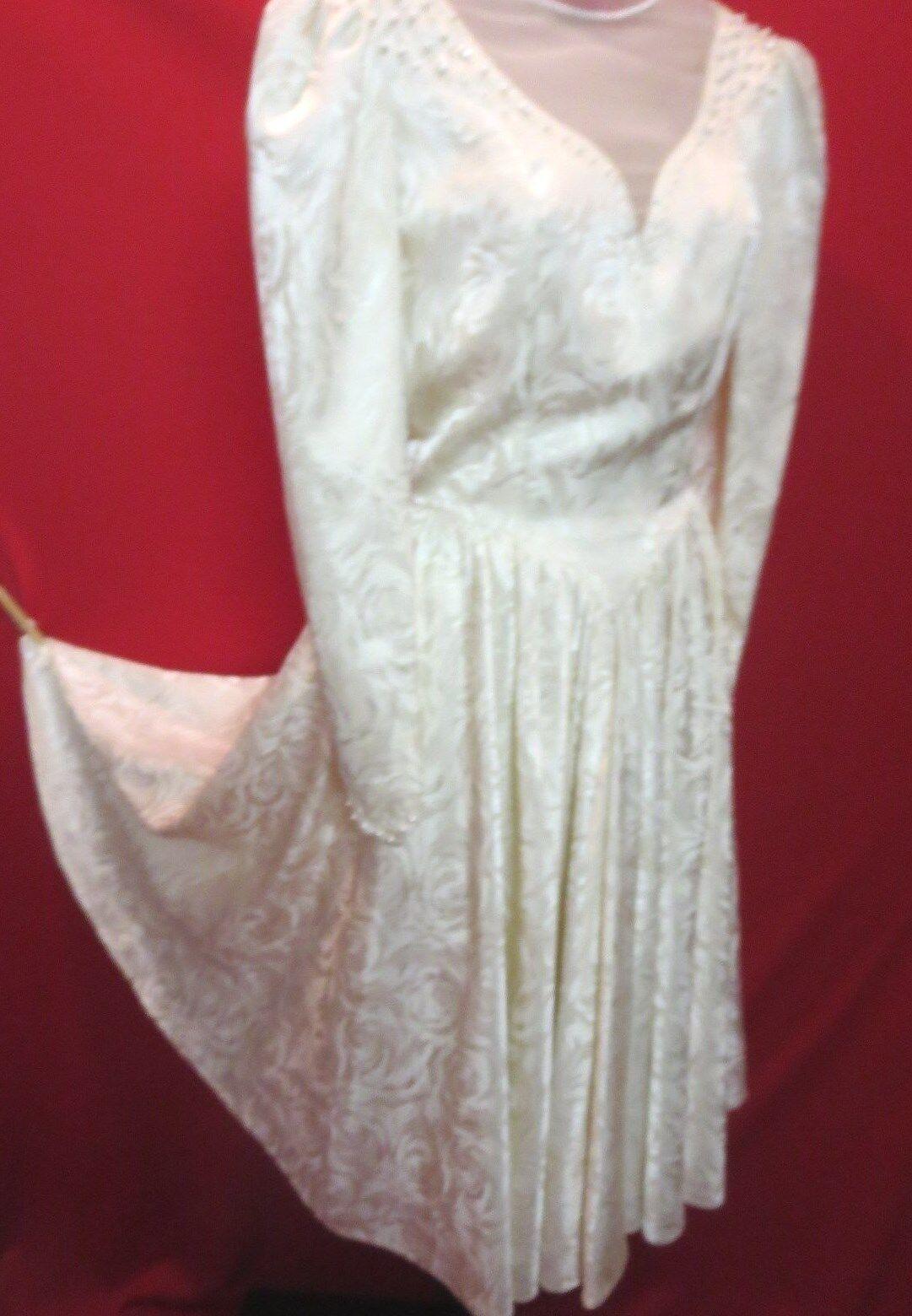 NYGAARD Stunning Vtg Rare 70's Satin pinks Ivory Pearl Beads Wedding Dress S