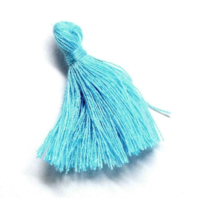 Pack 10 x Pale Blue 3cm Cotton Tassels For Sewing Cardmaking /& Crafts Y13425