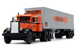 1-64-VINTAGE-RINGSBY-PETERBILT-AND-TRAILER-DIECAST-MADE-BY-FIRST-GEAR-DIECAST