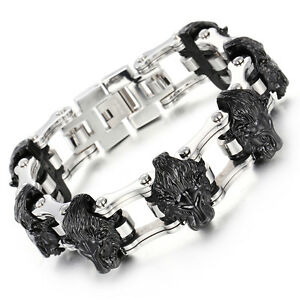 Details about  /Biker Stainless Steel Motorcycle chain Wolf  Lion Bracelet Large Men/'s Gift Huge