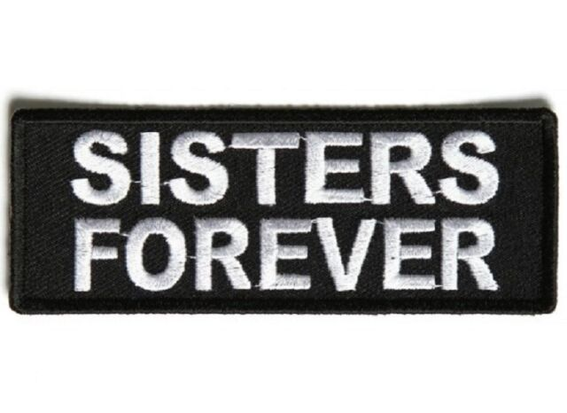 """(A55) SISTERS FOREVER 4"""" x 1.5"""" iron on patch (5337) Lady Biker Vest Cap"""