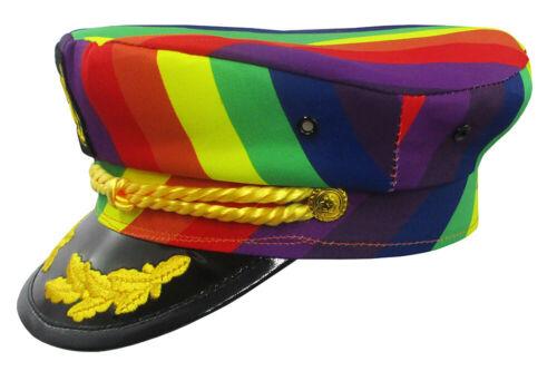 Adult Yacht Boat Ship Sailor Captain Costume Hat Rainbow Gay Pride Skipper Cap