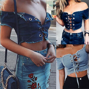 Womens-Summer-Off-Shoulder-Denim-Shirt-Crop-Tops-Lace-Up-Jean-Blouses-Ladies-Top