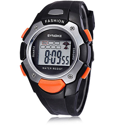 PU LED Light Digital Daily Waterproof Sports Quartz Wrist Watches Kids Girl Boy