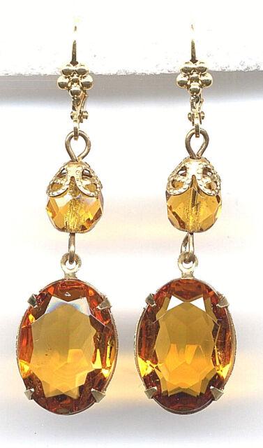 AMBER TOPAZ cut-crystal EARRINGS 14K Gold gp Levers Art Deco Drop *Vintage Czech