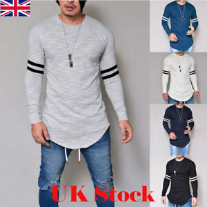 UK-New-Mens-Longline-Casual-Long-Sleeve-Shirts-Blouse-Slim-Fit-Tee-Tops-T-Shirt