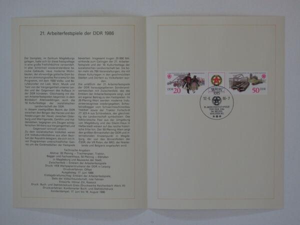 (86j12) Ddr (r.d.a.) Journal De Souvenir 1986 Avec Esst Mi.n ° 3028-3029