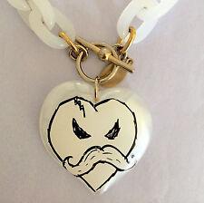Tarina Tarantino Kidrobot Kozik Moustache Heart Necklace, White Plastic Chain