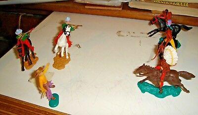 5 Soldatini Timpo E Crescent Cm. 6 Indiani Cowboy Componibili (5 A Cavallo)