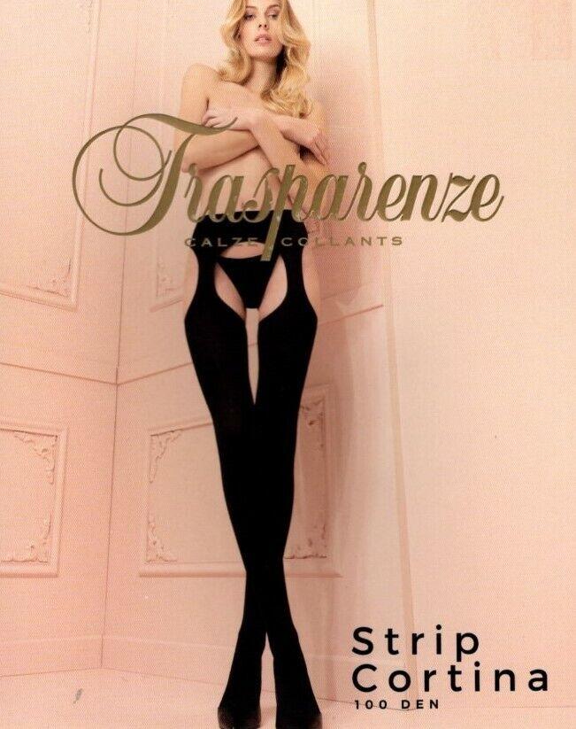 Trasparenze Strip-Panty CORTINA blickdichte Strumpfhose Schritt offen