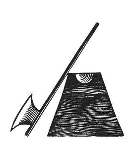 ERIC-GILL-MOUNTED-ORIGINAL-LTD-EDN-WOOD-ENGRAVING-AXE-amp-BLOCK-1929