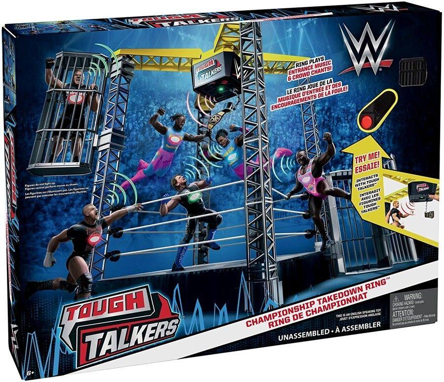 WWE Wrestling Tough Talkers Championnat Takedown bague  6 pouces Playset  bienvenue à l'ordre