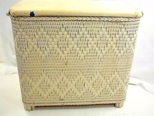 Image Is Loading Vintage Small White Wicker Clothes Hamper Laundry Venting