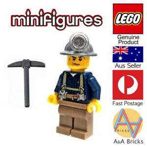 Genuine-LEGO-Minifigure-CITY-Miner-with-Pickaxe-Complete