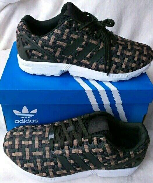 f36dd174780 Adidas Originals Taille 9 zx zx zx flux kaki marron tissage CAMO Baskets  EntièreHommes t