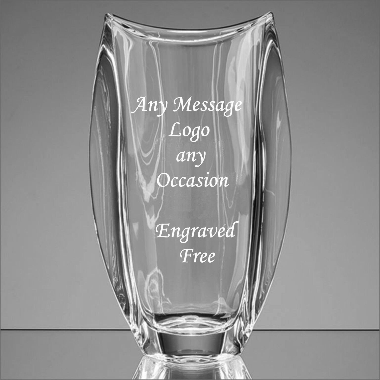Personalised Engraved Glass Vase Trophy - Award, Corporate Gifts, Any logo