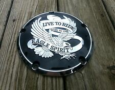 (NEW) Black w/Chrome Live to Ride 5 Hole Derby Cover 99-later Harley Twin Cam