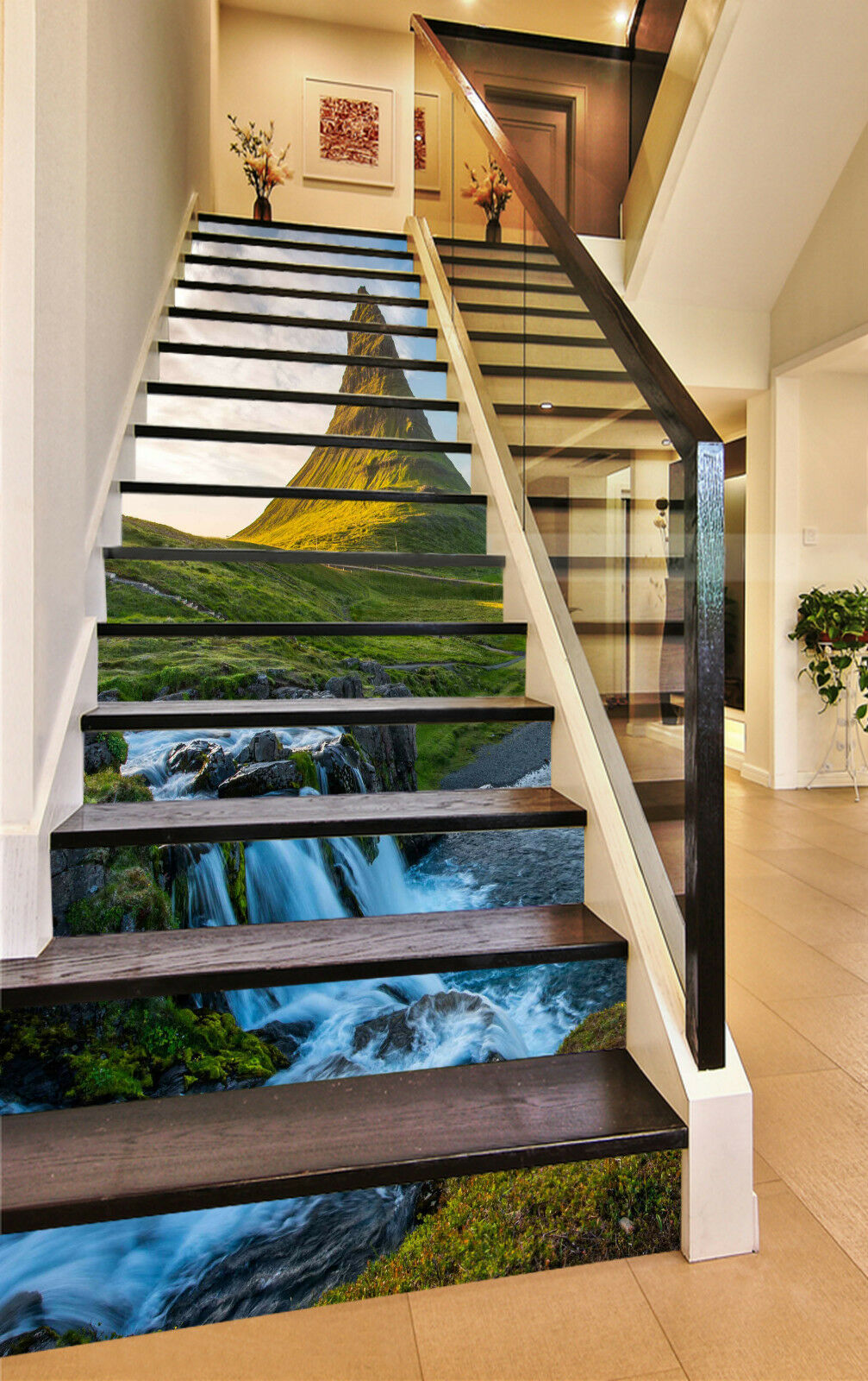 3D Wasserfall Berg 9Stair Risers Dekoration Fototapete Vinyl Aufkleber Tapete DE