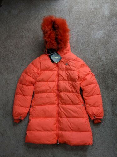 Pyrenex Xs Fourrure Détachable Long Orange Capuche Manteau