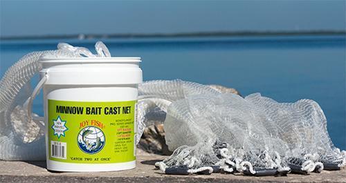 Joy Fish Minnow Cast Net with ¼ in. Square Mesh 6' Radius Sport Fishing Net-