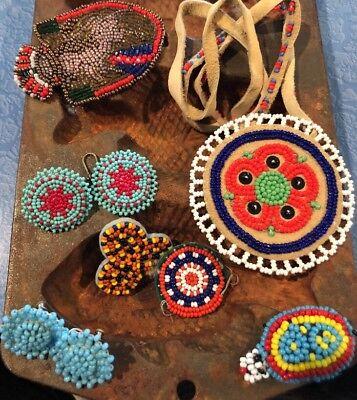 Vintage Navajo Micro Bead Work Native American Necklace Stunning