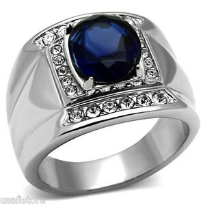Mens-Oval-Shape-Montana-Blue-Stone-Silver-Stainless-Steel-Ring