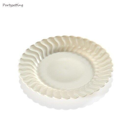 180 7.5  Ivoire-Bone Résistant Jetable Plastique buffet de salades mariage plaques