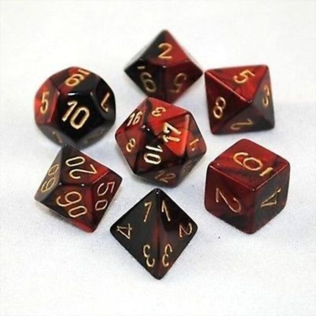 Set 7 dadi CHESSEX Gemini Black-Red gold 26433 Nero-Rosso Oro Dado Dice Die