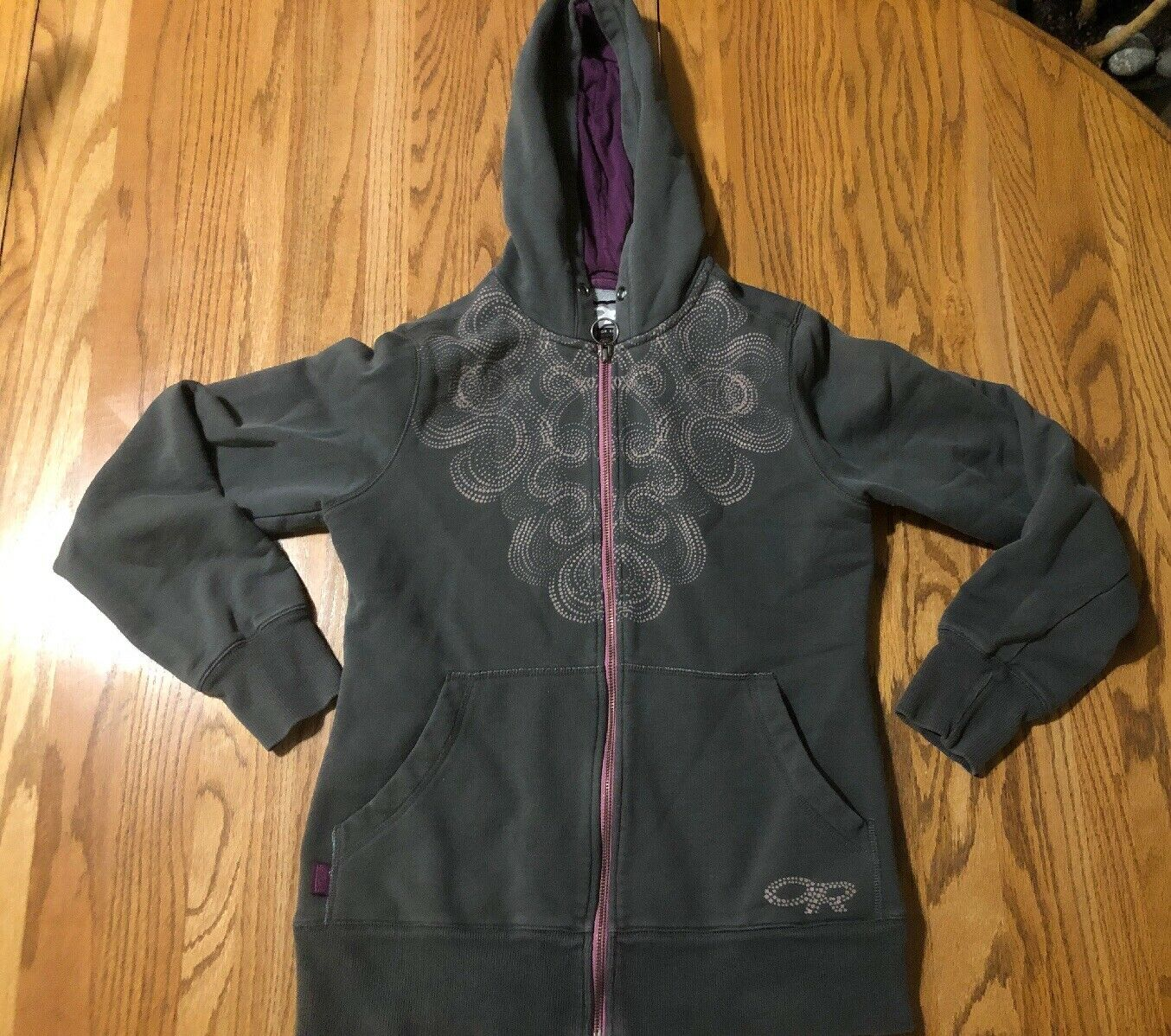OR Outdoor Research Women's Medium Full Zip Hoody Army Green Pattern