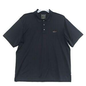 Greg-Norman-Polo-Golf-Shirt-Mens-Sz-XL-Black-Short-Sleeve-Embroidered-Shark-Logo
