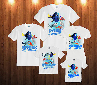NEW Personalized Custom Finding Dory Nemo Birthday t shirt Gift Add name /& age