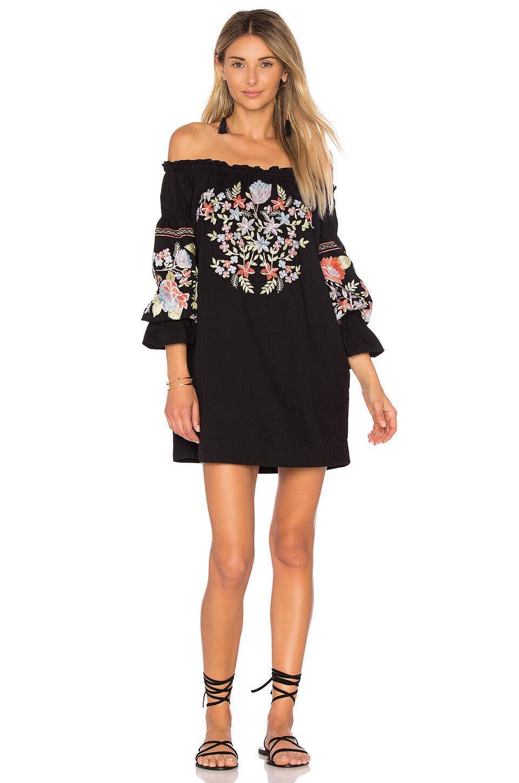 9nwt People Fleur Du Jour Enchanted Garden Mini Dress S Black ...