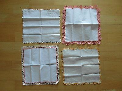 4 Unbenutzte Feine Damentaschentücher Mit Spitzenrand, Top, Hochzeit Einen Effekt In Richtung Klare Sicht Erzeugen
