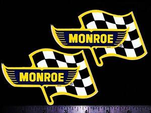 MONROE Shocks Flag - Set of 2 Original Vintage 1960's 70's Racing Decals/Sticker