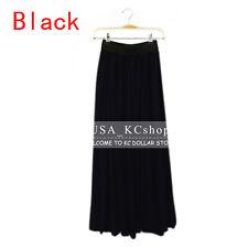 New Women Retro Chiffon Pleated Double Layer Skirt Long Elastic Waist Maxi Dress