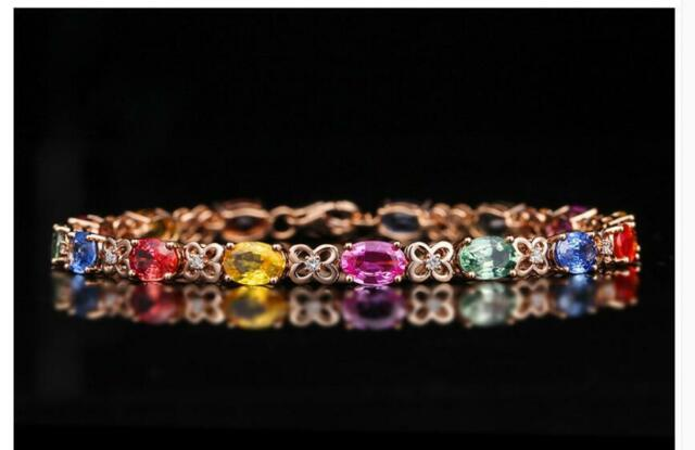 18K Rose Gold Solid Multi-color Sapphire Women's Tennis7 Inches Bracelet 17cm