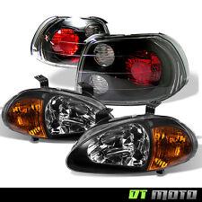 1993-1997 Civic Del Sol EG1 EG2 EH6 1-Piece Black Amber Headlights+Tail Lights