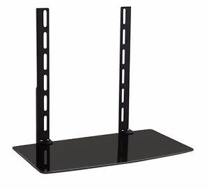 glass shelf above or under tv wall mount bracket dvd dvr cable box game system ebay. Black Bedroom Furniture Sets. Home Design Ideas