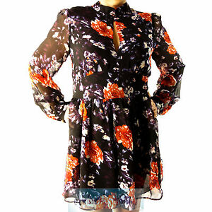 DOTTI-Brand-New-Floral-Print-Playsuit-Multi-Colour-Long-Sleeves-with-tags-Sz-12